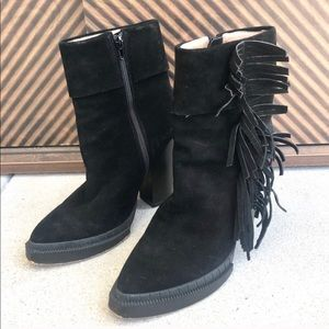 JEFFREY CAMPBELL black suede LEATHER fringe BOOTS